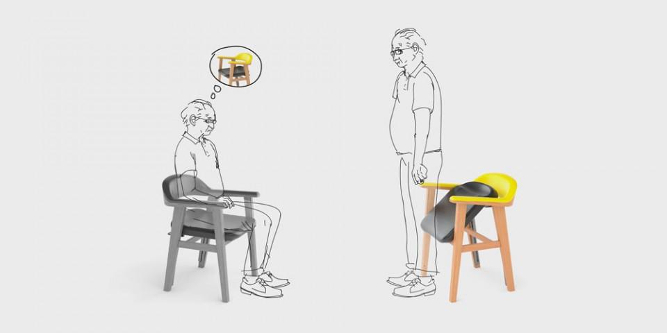 Krzesło+75 — Swobodne wstawanie i siadanie osób starszych.